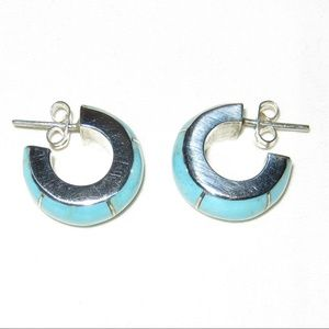 Sterling Silver Turquoise Hoops Vintage p3277